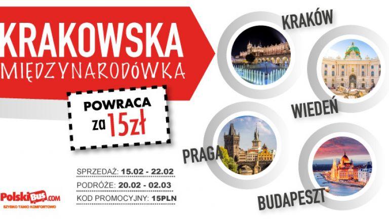 PolskiBus: Krakowska Międzynarodówka powraca za 15,00 PLN!