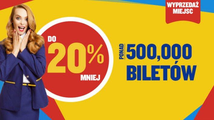 Ryanair: 500 000 biletów do 20% taniej!