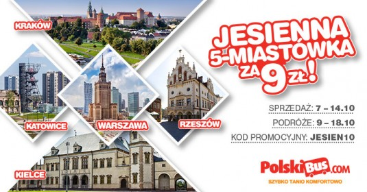 Kod promocyjny na PolskiBus: Jesienna 5-Miastówka