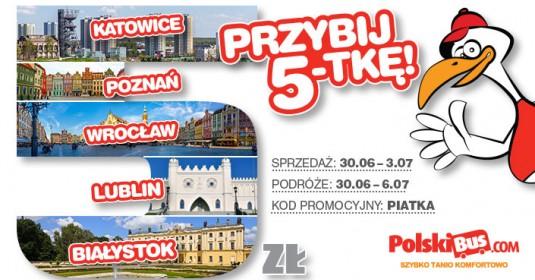 Kod promocyjny od PolskiBus: Przybij 5-tkę