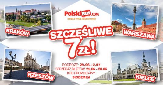 Kod promocyjny od PolskiBus: Szczęśliwa Siódemka 3